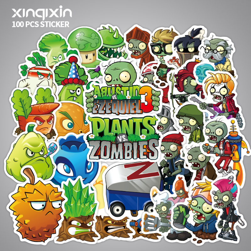 100Pcs Pvc Waterproof  Plants V.S. Zombies Sticker For Laptop Motorcycle Skateboard Luggage Decal Toy Stickers