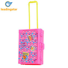 LeadingStar Play House Pink Plastic 3D Travel Train Suitcase Luggage For Barbie Doll Toy For Children