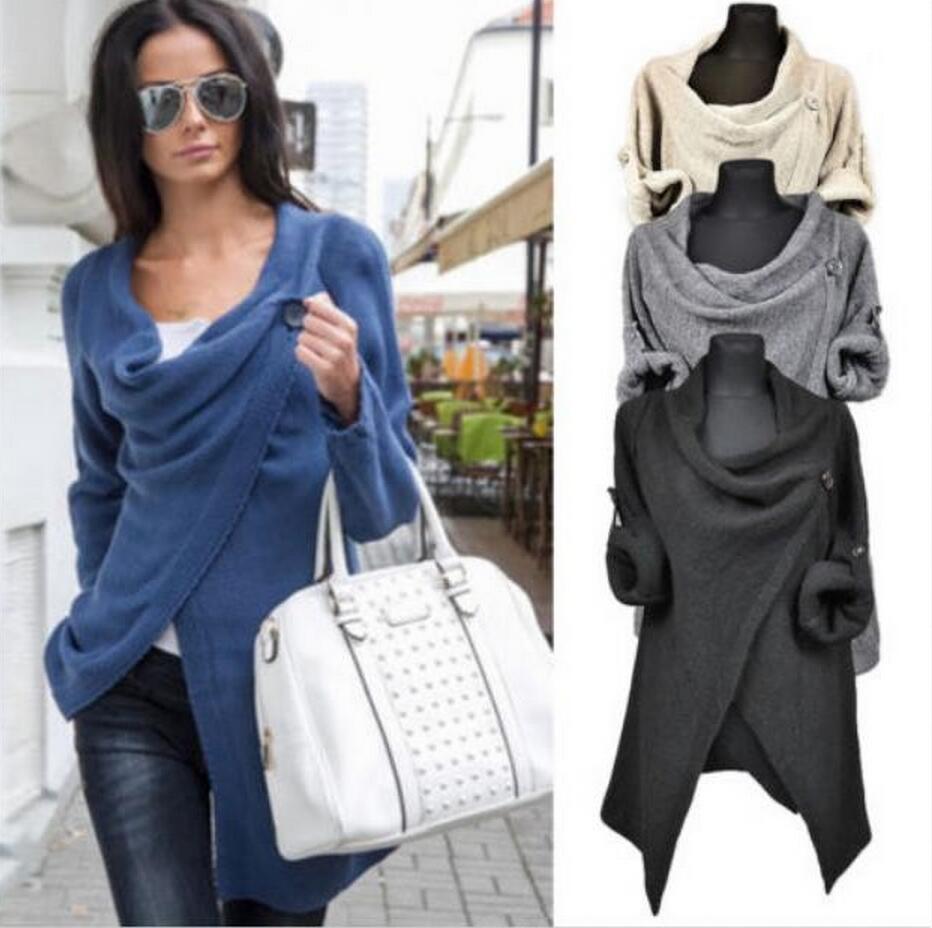 2018 Cardigan Fashion Women's Sweater Long Sleeve Knit Jacket Casual Jacket Sweater Irregular Spring And Autumn Cardigans  9655