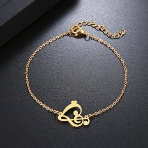 Женский браслет DOTIFI, браслет из нержавеющей стали золотистого и серебристого цвета с сердечком и музыкальной ноткой, Помолвочные украшения...
