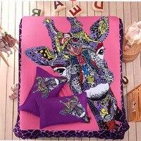 Ücretsiz kargo via UPS 3 adet/4 adet zımpara hayvan zürafa dolgu olmadan yatak seti ikiz/tam/kraliçe karikatür geyik ev tekstili