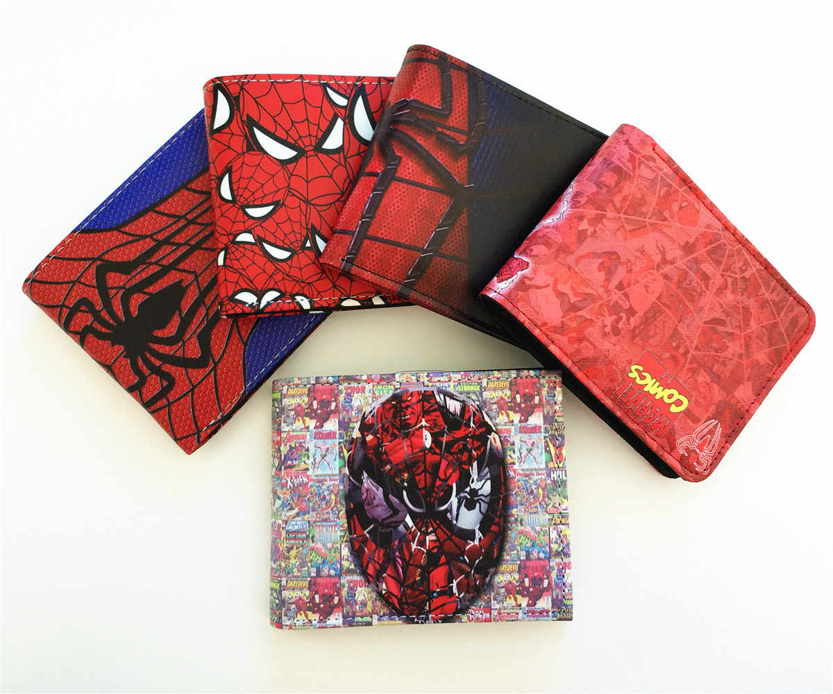 5 Type Marvel Spider Man Series Men Wallet Faux Leather Zipper Coin Purse Unisex Wallets ID/Credit Card Holder