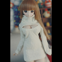 LIMPOPO December new BJD top Doll clothes High collar Beige exposed breast sweater Photo gift Sexy props