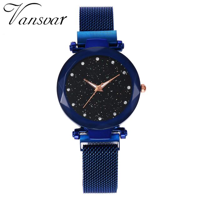 Best Selling Women Mesh Magnet Buckle Starry Sky Watch Casual Luxury Women Geometric Surface Quartz Watches Relogio Feminino