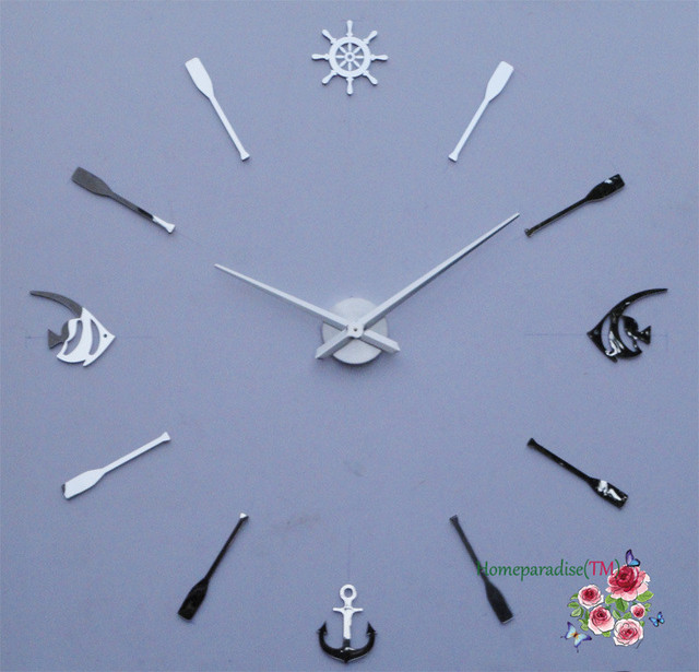 25″- 40″ Anchor Fish Luxury DIY Frameless Quartz Non-ticking Silent Wall Clock Wall Sticker Decal Office Creative Decor