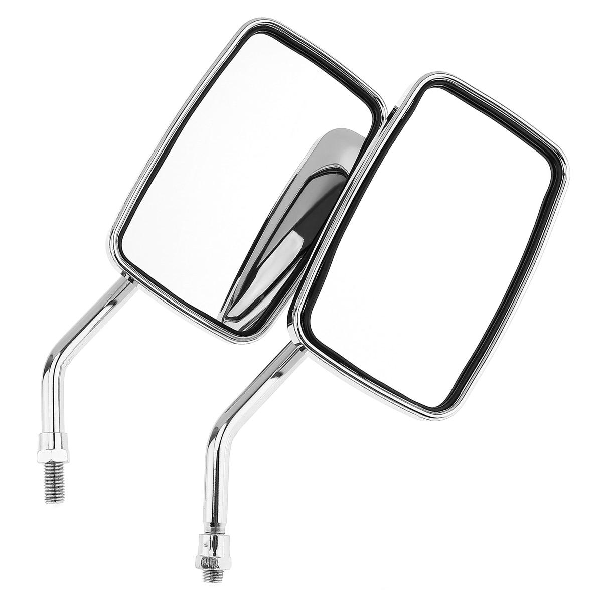 цена на 2pcs Universal 10mm Modified Plated Universal Motorcycle Handlebar Mirror Motorbike Side Mirrors Rearview Wide Angle Mirror