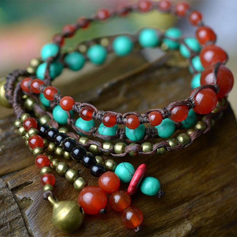 Bohemia Turkey Stone Charm Strand Bracelets For Women Red carnelian Copper beads Chain Necklace style Handmade Fashion Jewelry