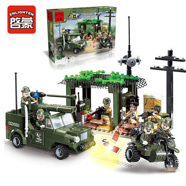 Enlighten 809 Modern Military Vehicles Army Intercept Motorcycle Combat Zones SWAT Model Bricks Building Block Toys For Gift enlighten 1406 8 in 1 combat zones military army cars aircraft carrier weapon building blocks toys for children