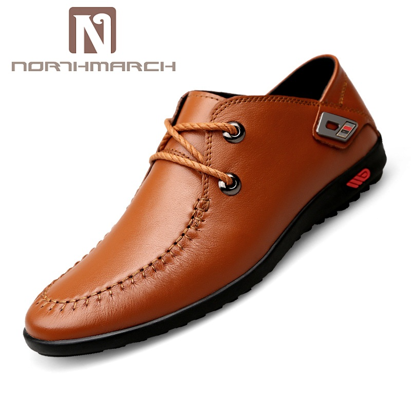 NORTHMARCH New 2019 Mens Shoes Genuine Leather Lace Up Handmade Mens Loafers Fashion Designer Slip On Men's Casual Shoes