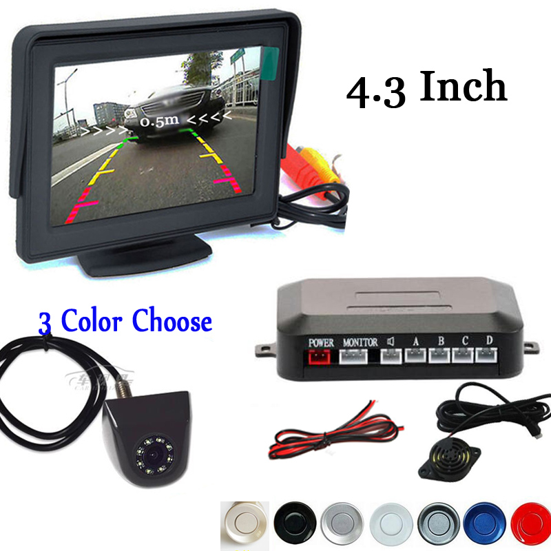 Car Visible Parking Assistance, 4.3 Inch TFT Mirror Monitor With 8LEDS Rear View Camera and Video Reverse Radar Parking Sensor