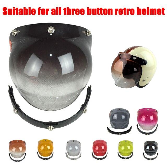 5ee13298d9bde Visera de casco de motocicleta lente Vintage General 3 botones burbuja  visores espejo casco visores escudo