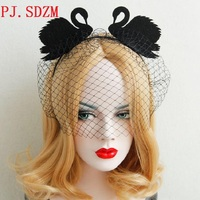 Chrismas Party Queen Black Swan Gauze Hairbands Hand Made Night Club Halloween Hair Accessories Woman Travel