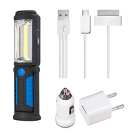 Super Bright USB Charging LED Flashlight Torch Work Stand Light Magnetic HOOK Mobile Power With USB
