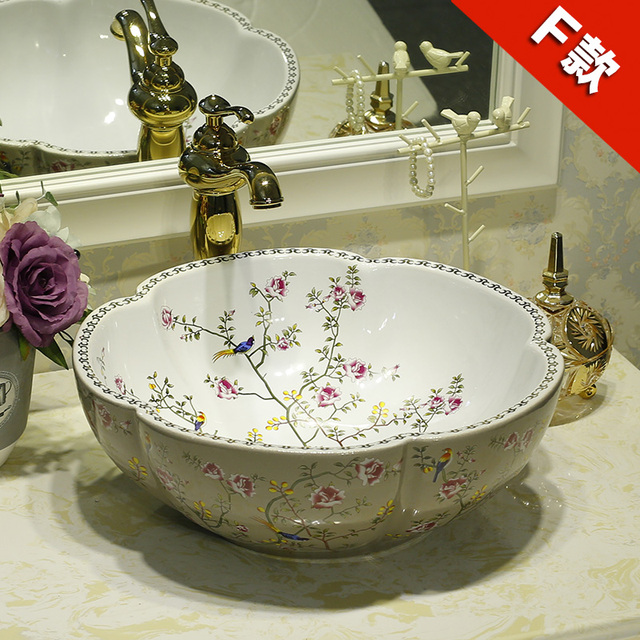 Ceramic Counter Top Wash Basin Cloakroom Hand Painted Vessel Sink Bathroom  Sinks Flowers And Birds Pattern