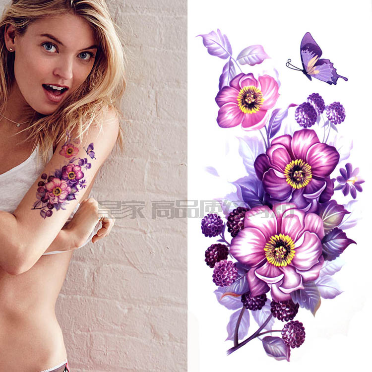 Big Flower Chinese Body Art Waterproof Temporary Watercolor Rose Painting For Woman Flash Tattoo Stickers 10*20CM MD326