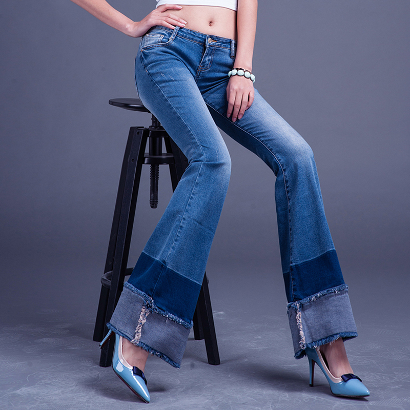 Autumn New Female Fashion Spliced Style Stitching Flared font b Jeans b font Stretch Trousers Slim