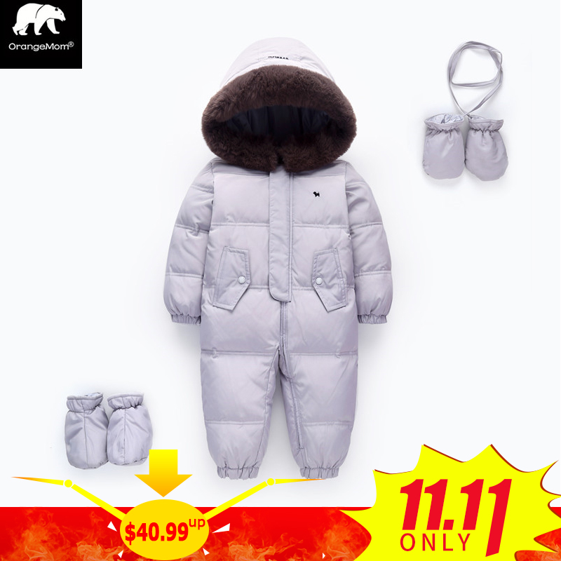 Orangemom official store baby winter romper duck down Infant Snowsuit Kid Jumpsuit Children Outerwear warm overalls for girls 2017 winter overalls warm hooded romper for newborns baby children jumpsuit outerwear sport coats infant child snowsuit 0 3t