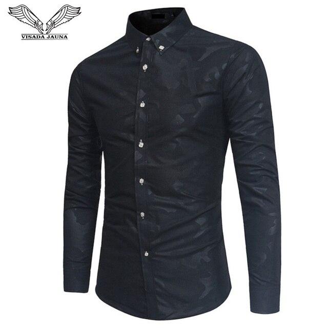 VISADA JAUNA 2018 Для мужчин модное платье рубашка Slim Fit с длинным рукавом Homme рубашка Бизнес Повседневное с камуфляжным принтом мужской рубашки N8953