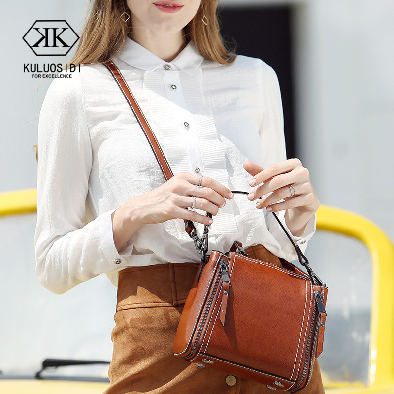 Retro Double Zipper Small Messenger Bag Women Genuine Leather Crossbody Bag For Women 2018 Natural Leather Bag Ladies Hand Bags