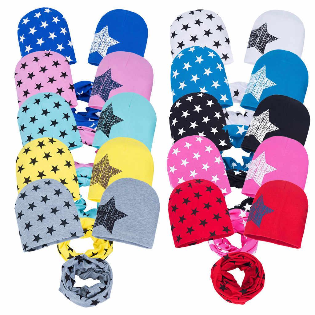 3 PC/set Outono Inverno Crochet Crianças Chapéus Estrela Impressão de Algodão Chapéu Do Bebê Conjunto Cachecol Meninos Meninas Crianças Cap Gorros Cachecol colarinho