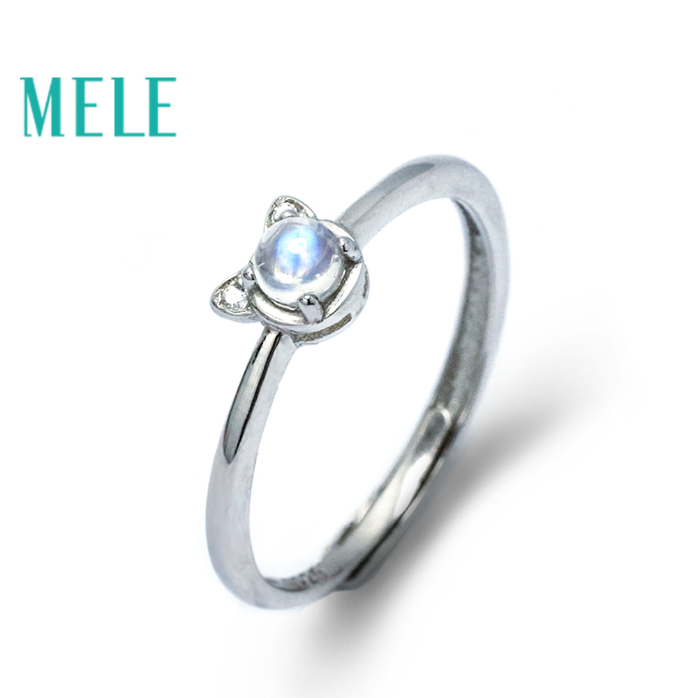 Natural blue moonstone 925 sterling silver rings for women and girls,animal cute cat shape trendy fashion jewelry