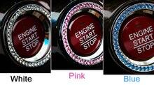 Car sticker one button start decoration  Silver Diamond Ring starter switch decorative circle Interior