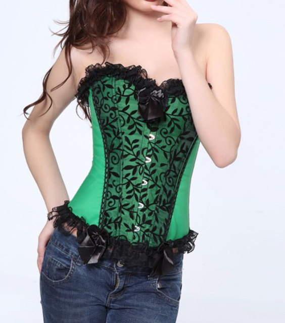 07b7aad23 Plus Size Women 6XL Gothic Corset Sexy Vine Flocking Front Panel Satin Overbust  Bustier Top Corpete