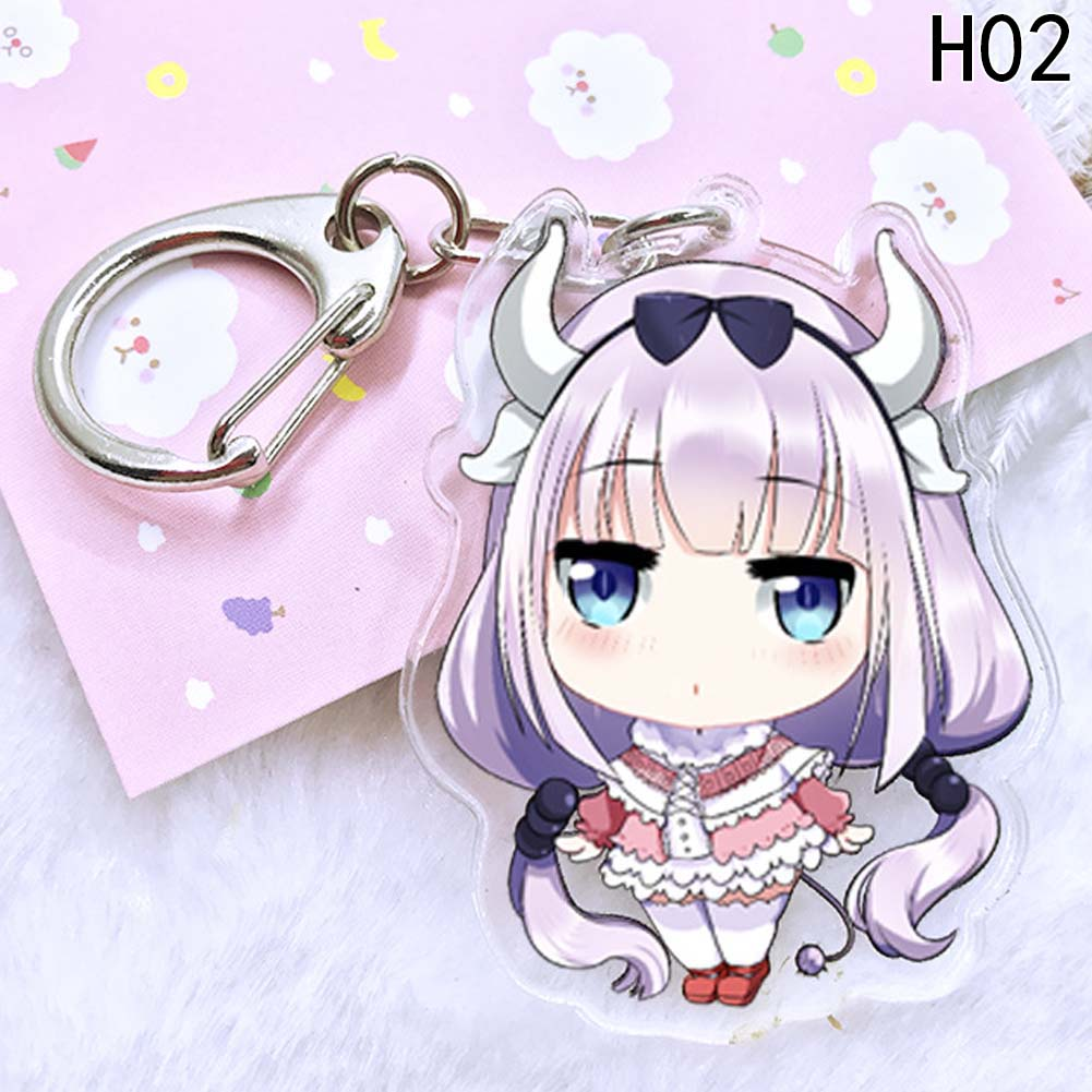 Keychains Animation Xiao Lin Home Dragon Maid Acrylic Double Sided Pendant Car Keyring and Wallet Bag Ornaments Keychain