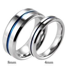 Shardon любовника Скошенные карбида вольфрама полированный обручальное кольцо голубая линия обручальное кольцо для пары