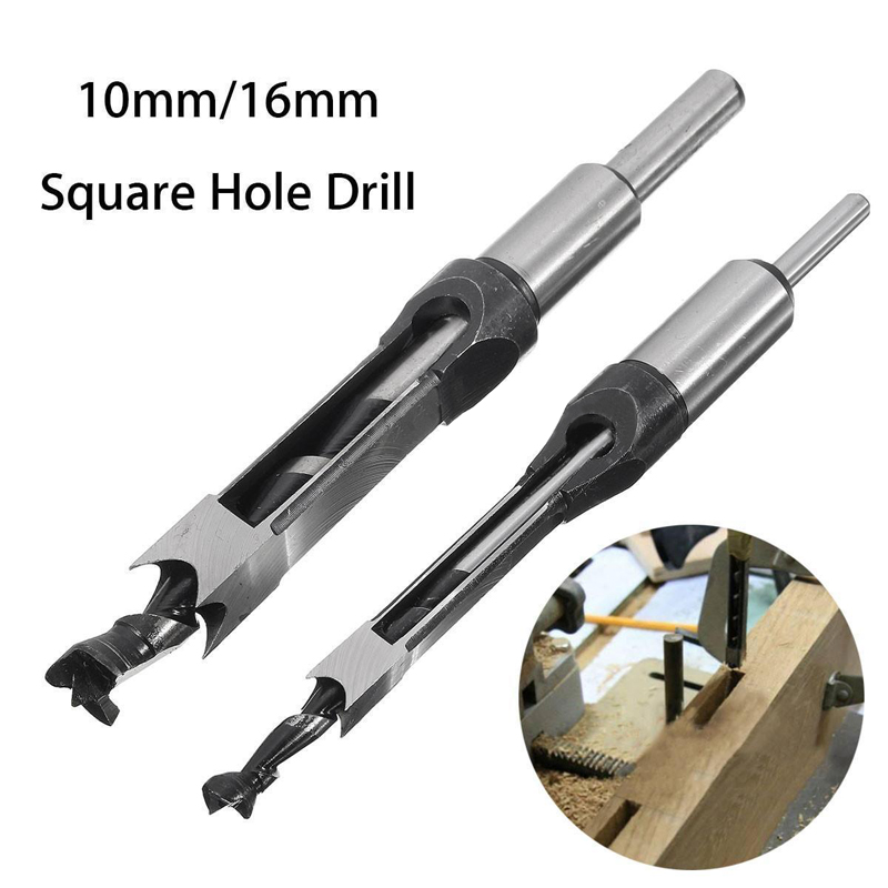 10mm/16mm Square Hole Mortiser Drill Bit Mortising Chisel Woodworking Electric Drill Tools Mayitr