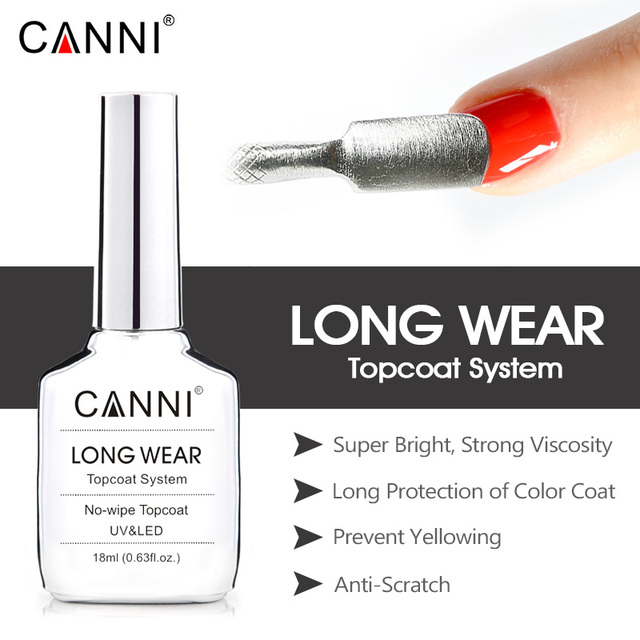 CANNI New 18ml Long Wear Topcoat No-wipe Non-cleansing Diamond Super Bright Glossing Top Coat Updated than Tempered Topcoat 2