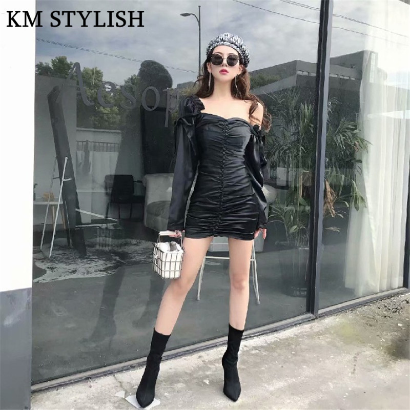 2019 Spring New Slim Temperament Retro Court Personality Women's Strapless Off Shoulder Mini Dress Black and White