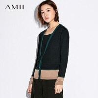 Amii mujeres ocasionales minimalista Cardigan 2018 contraste Color V cuello único Breasted mujer Knit Cardigan suéteres