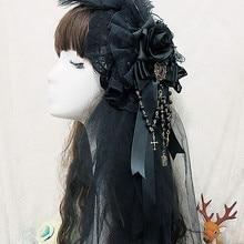 Черный готический, викторианской эпохи Era Головные уборы повязка на голову, повязка на голову