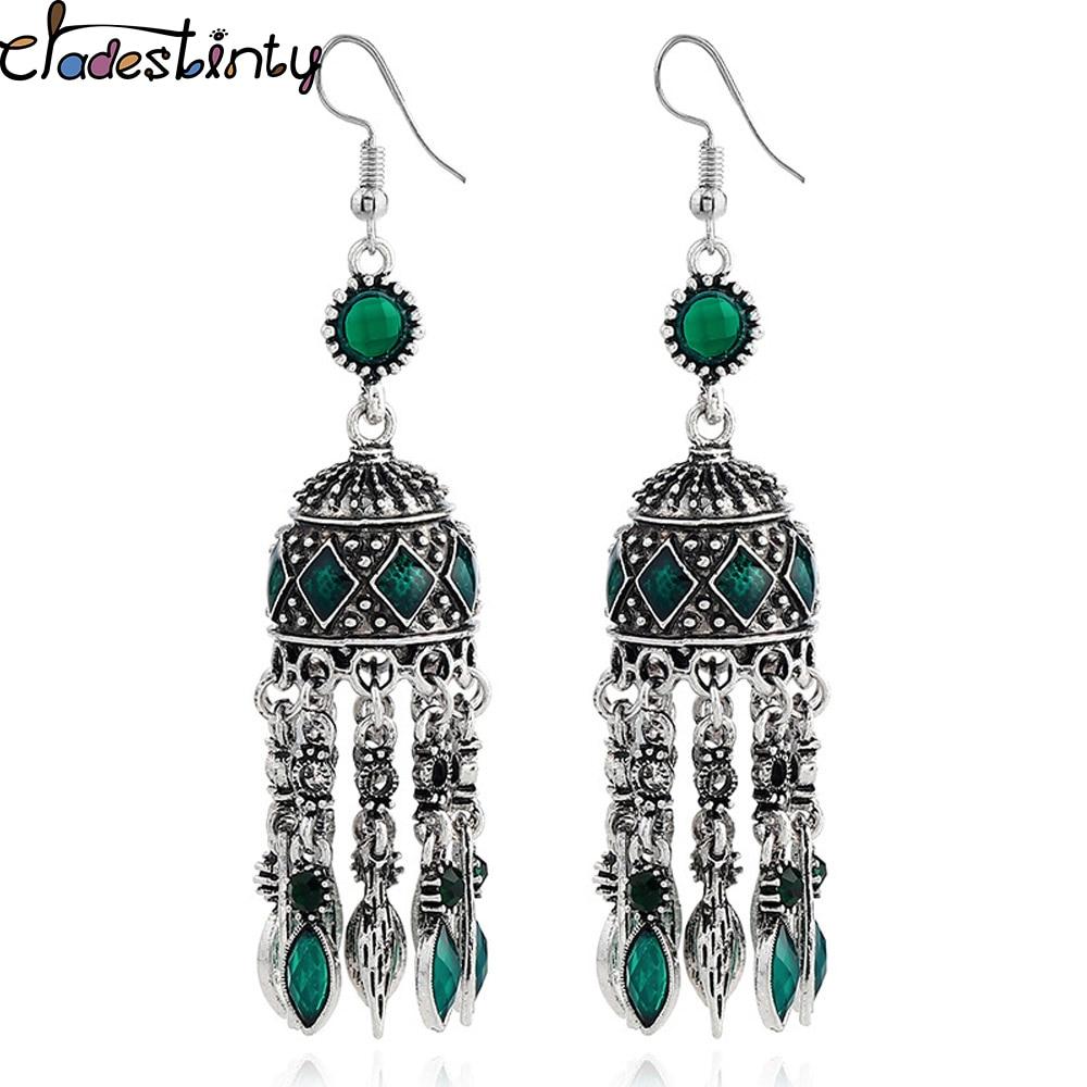 b88a91ccaf3a9 US $3.37 30% OFF|Chadestinty Vintage Ethnic Earring Antique Silver Boho  Statement Drop Earrings Long Dangle Tassel Earrings Indian Jewelry  brinco-in ...