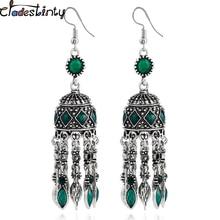 Chadestinty Vintage Ethnic Earring Antique Silver Boho Statement Drop Earrings Long Dangle Tassel Earrings Indian Jewelry brinco
