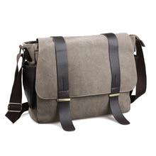 лучшая цена Men's Shoulder Bag Travel Crossbody Bags Causal Canvas Messenger Bag Solid Multi-function Laptop Handbag School Tote Bags