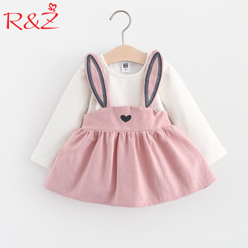 R&Z Baby Dress Long Sleeve Girl Dress 2017 New Autumn Fashion Style Children Clothing Cotton Infant Kids Clothes Cute Rabbit k1 2017 autumn girl long sleeves dress fashion baby casual kids cotton dress print rainbow 3 8 year old children s clothing lh6010