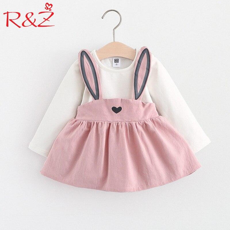 R & Z Baby Kleid Langarm Mädchen Kleid 2017 Neue Herbst Mode Stil Kinder Kleidung Baumwolle Infant Kinder Kleidung niedlichen Kaninchen k1