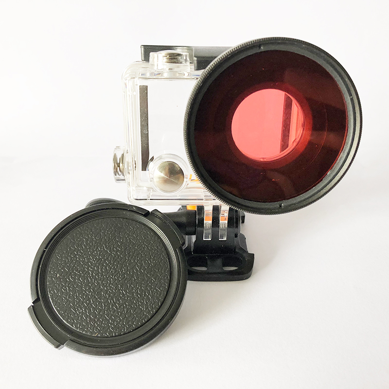Tekcam 52mm rojo tubo de filtro de buceo rojo lente para Eken H9 h9r h9se H8 h8r h8pro h8se H3 h3r V8S