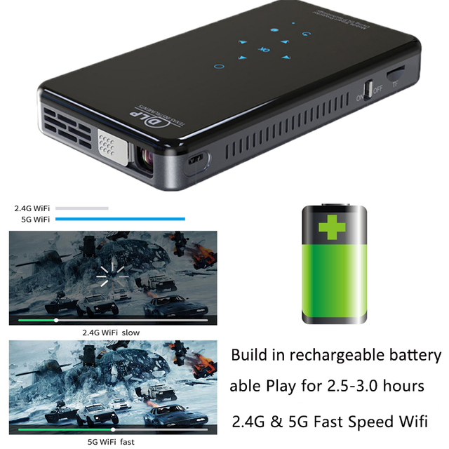 SmartIdea X2 HD Handheld DLP Projector Android 7.1 Wifi bluetooth 4.1 Pico Pocket Proyector HD Portable Beamer Miracast Airplay 1