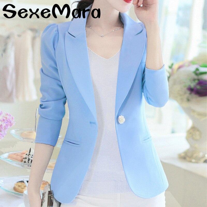 Women Blazers Casual Long Sleeve Jackets Solid Single Button Outwear Coat Slim Office Lady Elegant Female Top OL Blazer Feminino