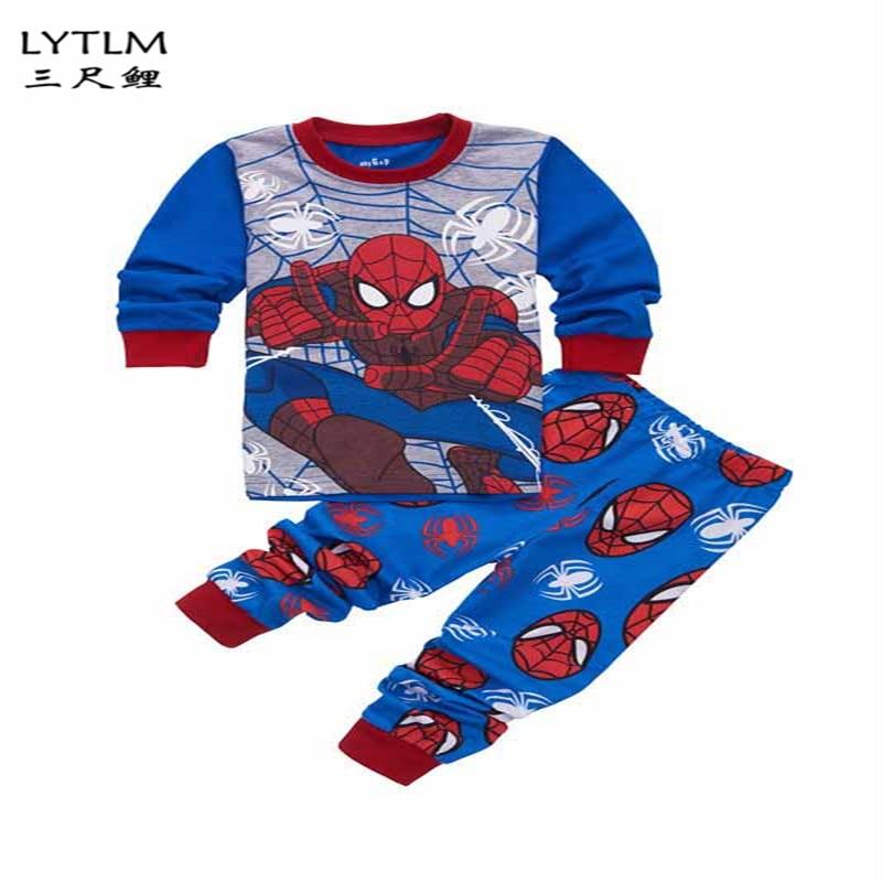 LYTLM Avengers Marvel Party Spiderman Homecoming Suit Kids Autumn Long Sleeve Boy Clothes Blouse Cotton Pants 2Pcs Kids Suits