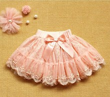 Children Pink Skirts Kid Clothes Baby Girl Multilayer Tulle Party Dance Bow Cake Tutu Skirts Summer Girls Princess Lace Skirts