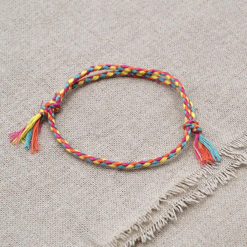 Bracelet de corde tissée à breloques Bracelet de Yoga Boho priez Bracelet Simple à la main Chic gland filles Bracelet d'amitié pour hommes femmes
