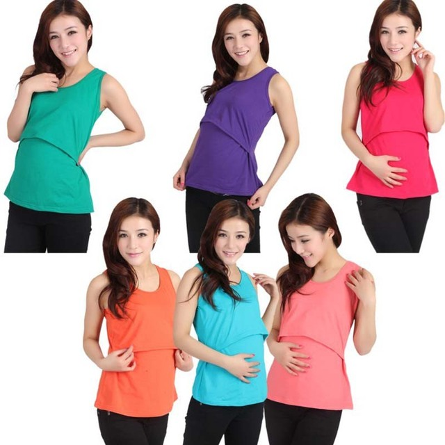 415b417f97fc8 Maternity Women Nursing Camisole Padded Breastfeeding Tops Casual Summer  Tank Top Vest Cotton Pregnant Strap Tops Camis 7 Colors