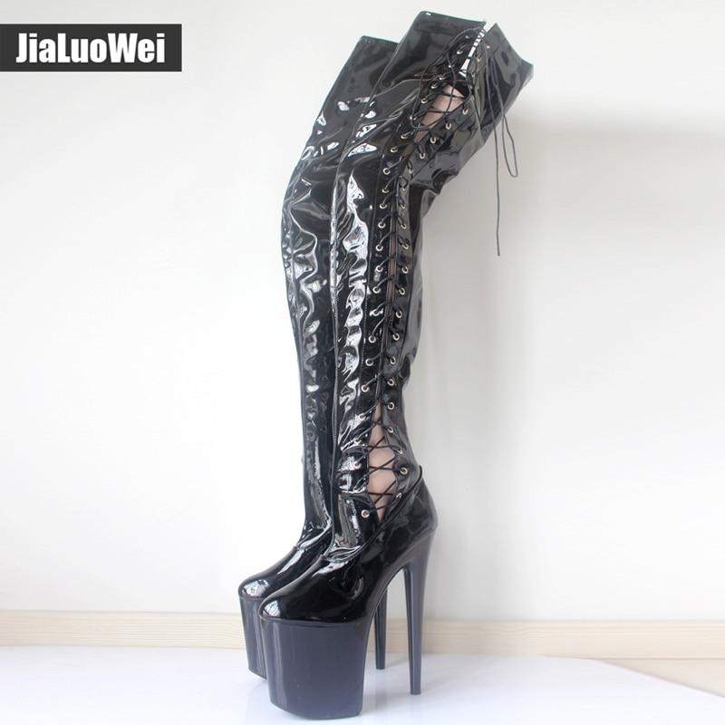 Здесь можно купить   jialuowei 8 inch high heel New Sexy Over-the-knee Long Boots Pleaser Black Stretch Platform Thigh High Boots Side Ribbon Lace Обувь