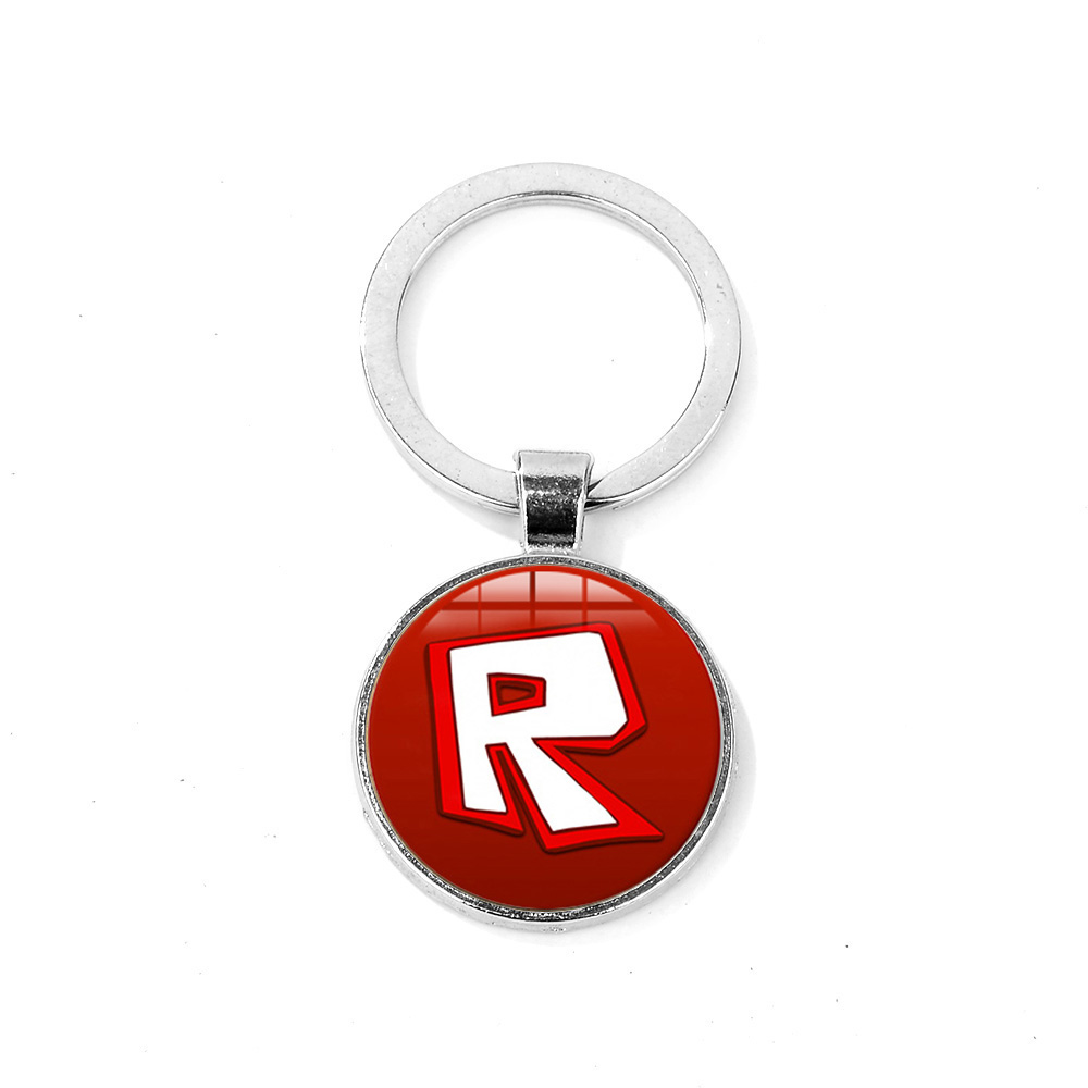 US $0 55 38% OFF|SIAN 2019 Anime Game Roblox Keychain Red R Logo Glass  Cabochon Key Ring Bag Pendant Kids Boy Girls Birthday Gift Fans Souvenirs  -in