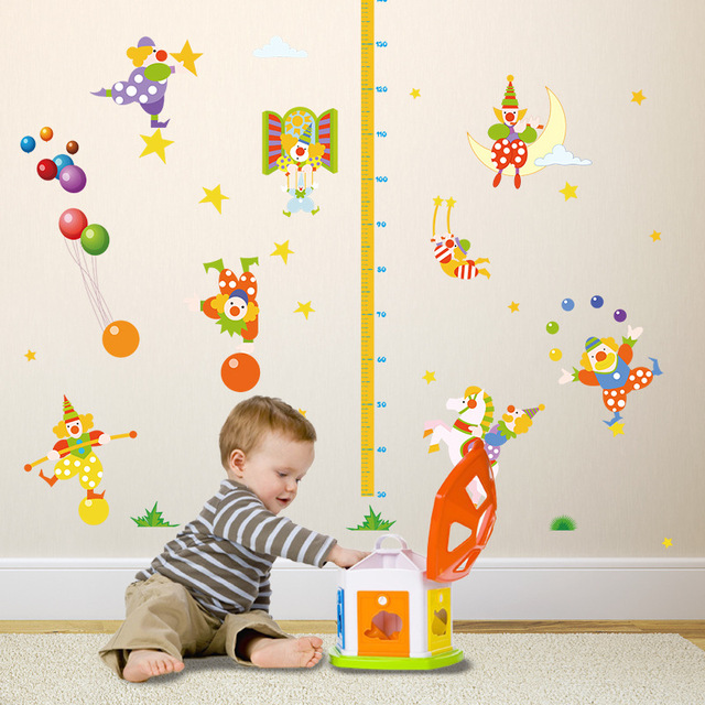 circus clown height sticker children's room decor nursery function