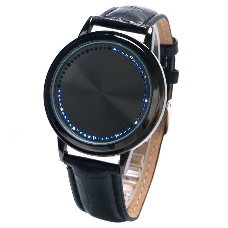 2019 New Cool Black LED Touch Screen Leather Strap Digital Blue Time Watch Wrist Watch